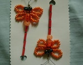 RESERVED for HedgieKat - B13 - Iridescent Orange Dragonfly hair pins