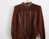 SALE Vintage Dark Brown 70s Leather Sweater Jacket Coat Sz L