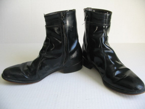 vintage black zippered ankle beatle boots mens 8 womens 10
