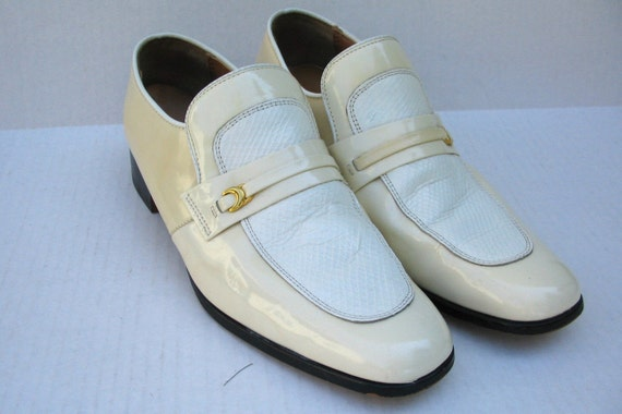 mens white patent leather 70s loafer dress shoes 11 5
