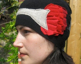 Red Black and Gray Cashmere Poppy Flower Hat by devilmademedoit