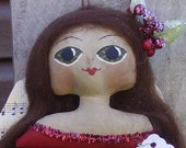 Primitive Angel Bust Doll Ornament Christmas Folk Art