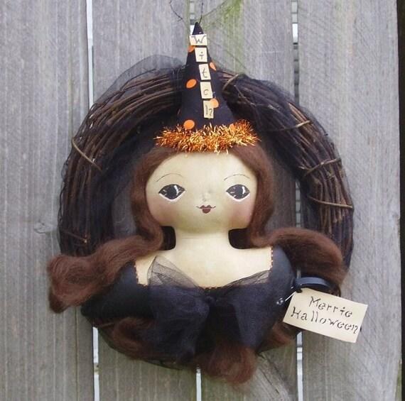 Halloween Wreath Primitive Folk Art Bust Doll  Witch