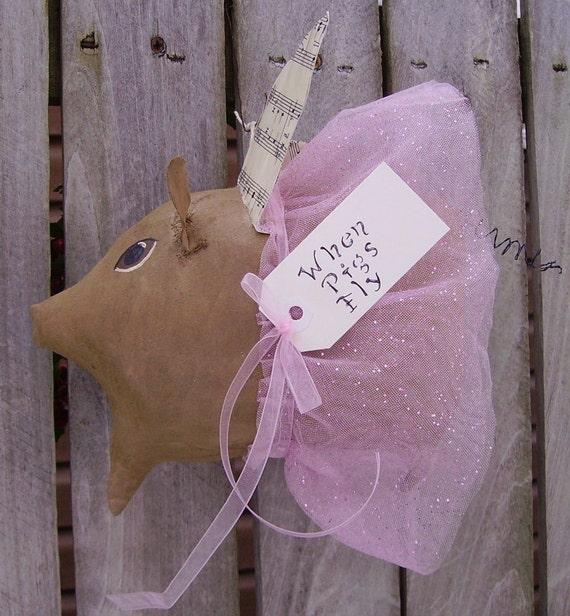 Primitive Angel Pig Doll Folk Art Flying Pig