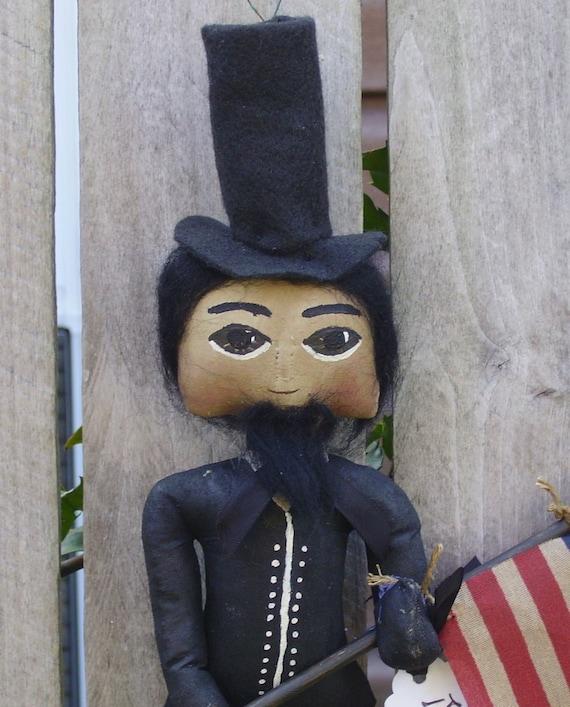 Abe Lincoln Doll Primitive Americana Folk Art