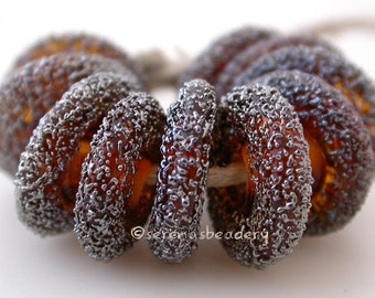 Lampwork Glass Beads AMBER Silver LUSTER SAND Spiral Wavy Disks - taneres topaz brown