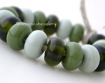 SEAWEED Handmade Lampwork Spacers Mixed Set Glass Beads- TANERES - green, olive, and grey