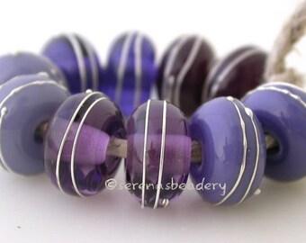 Fine SILVER PURPLE PAIRS Lampwork Glass beads - Buyer's Choice Handmade - taneres