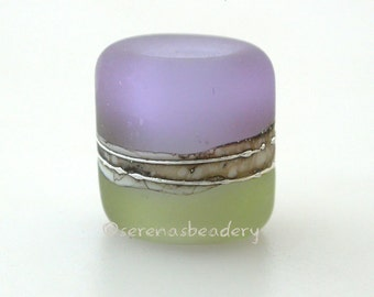 MOJITO Dark LAVENDER matte beach European Charm Lampwork Glass Bead - TANERES - mint, silvered ivory, fine silver - 13x11 mm