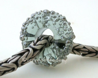 LIGHT STEEL Grey Silver Luster Sugar European Charm Handmade Lampwork Beads - taneres