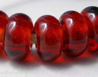 5 DARK AMBER TOPAZ Lampwork Glass Spacer Bead - Glossy & Matte - Handmade Donut Rondelle Taneres sra brown