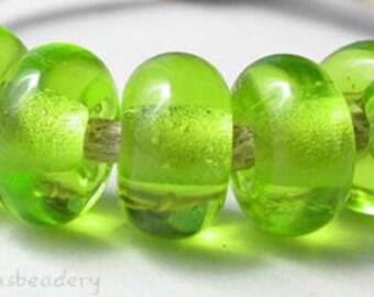 Lampwork Spacer Bead 5 LIGHT GRASS GREEN Glossy & Matte Glass Handmade Donut Rondelle Taneres sra lime