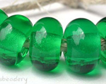 5 LIGHT EMERALD GREEN Lampwork Glass Spacer Beads - Glossy & Matte - Handmade Donut Round Rondelle - 8 to 10 mm