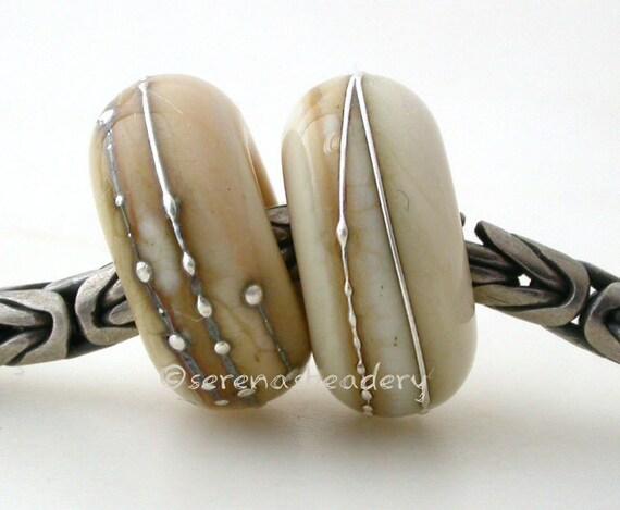 European Charm DARK IVORY Silver Wrap Pair Lampwork Beads - TANERES sra cream fine silver