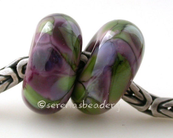 European Charm Lampwork Glass Beads VIOLET SPRING Pair - taneres sra purple green - glossy or matte