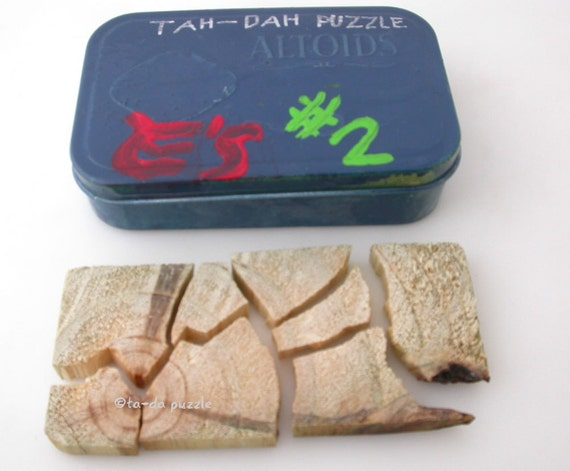 Tah-Dah Puzzle 2 - Wooden Puzzle Hand Painted Upcycled Tin Case by Elijah