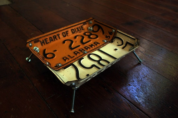 Vintage License Plate Bowl (Alabama 1956/Kansas 1961)