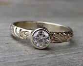 RESERVED - Moissanite and Recycled 14k White Gold Ring, size 6.5
