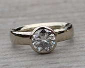 Moissanite Solitaire Engagement Ring with Recycled 14k White Gold, Diamond Alternative, Eco-Friendly, Made to Order