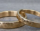 Wedding or Committment Band Set - Two Recycled 14k Yellow Gold Wedding Bands, Made to Order