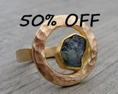 CLEARANCE - Montana Sapphire and Recycled  22k and 14k Yellow Gold Ring, Size 6.5