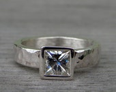 Moissanite and Recycled Palladium Sterling Silver Square Princess Cut Wedding Engagement Ring, Made To Order