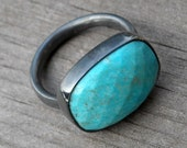 Faceted Turquoise and Recycled Sterling Silver Ring, size 7.5