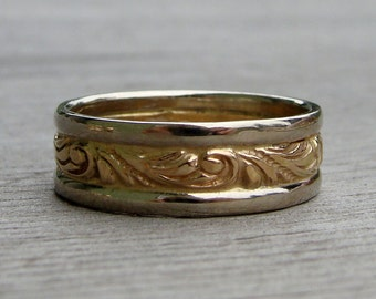 Recycled 14k Yellow Gold, and Recycled 14k White Wedding Band, Made to Order