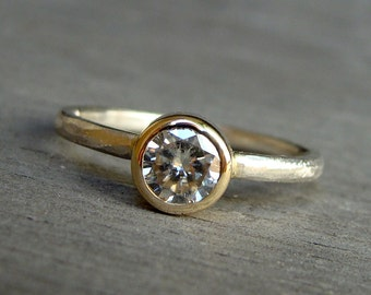 Engagement Ring - Moissanite, Recycled 14k Yellow Gold, and Recycled 18k Palladium White Gold Solitaire, Made to Order