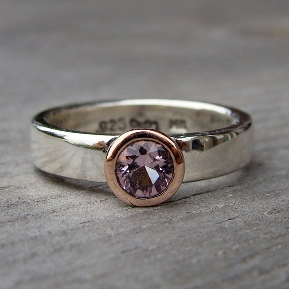 SALE - California Pink Tourmaline, Recycled 14k Rose Gold, and Recycled Palladium Sterling Silver Ring, size 6.25