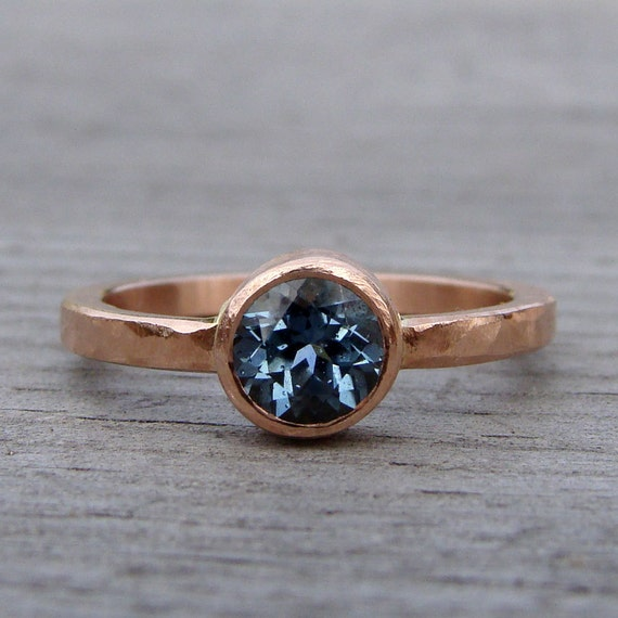 Fair Trade Malawi Sapphire and Recycled 14k Rose Gold Ring, Made to Order - Engagement, Wedding, or Right Hand Ring - Diamond Alternative