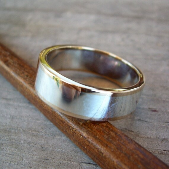Recycled Sterling Silver and 14k Gold Wedding Band, Made to Order