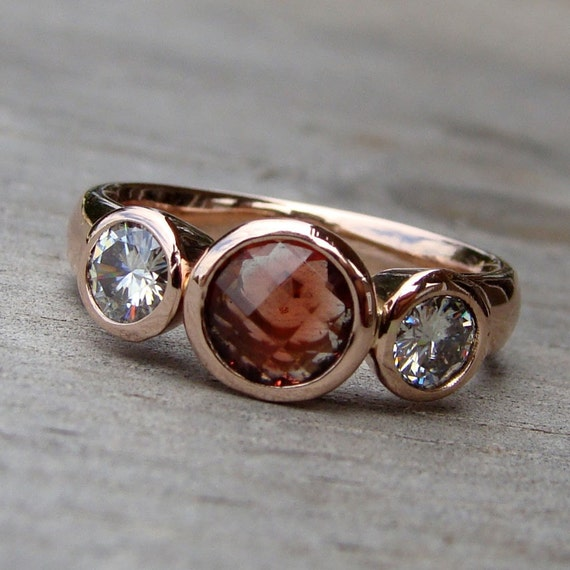 Reserved Oregon Sunstone Moissanite And Recycled 14k Rose
