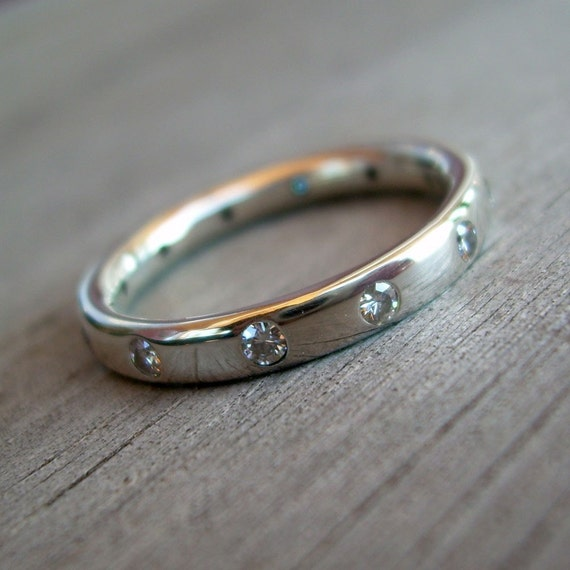 Moissanite and Recycled Sterling Silver Ring, Made To Order