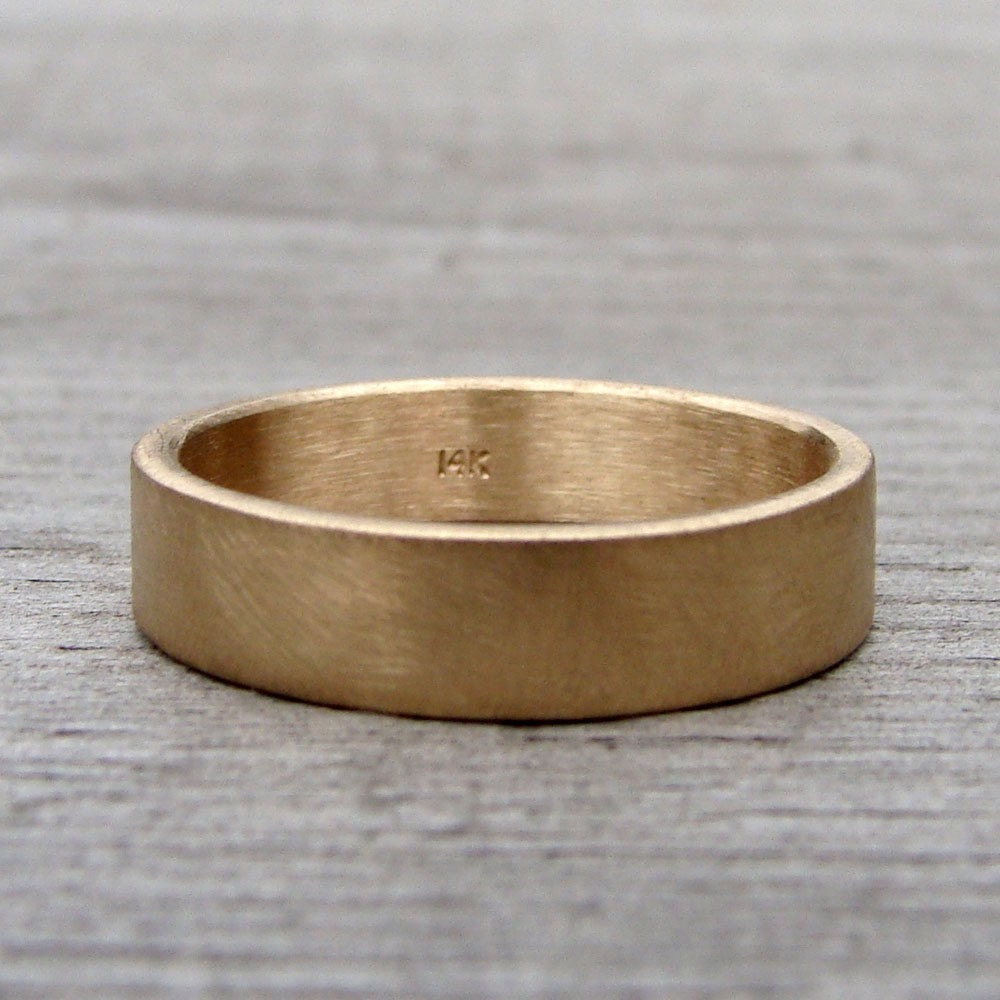 Recycled 14k Yellow Gold Wedding Band Ring Matte Brushed