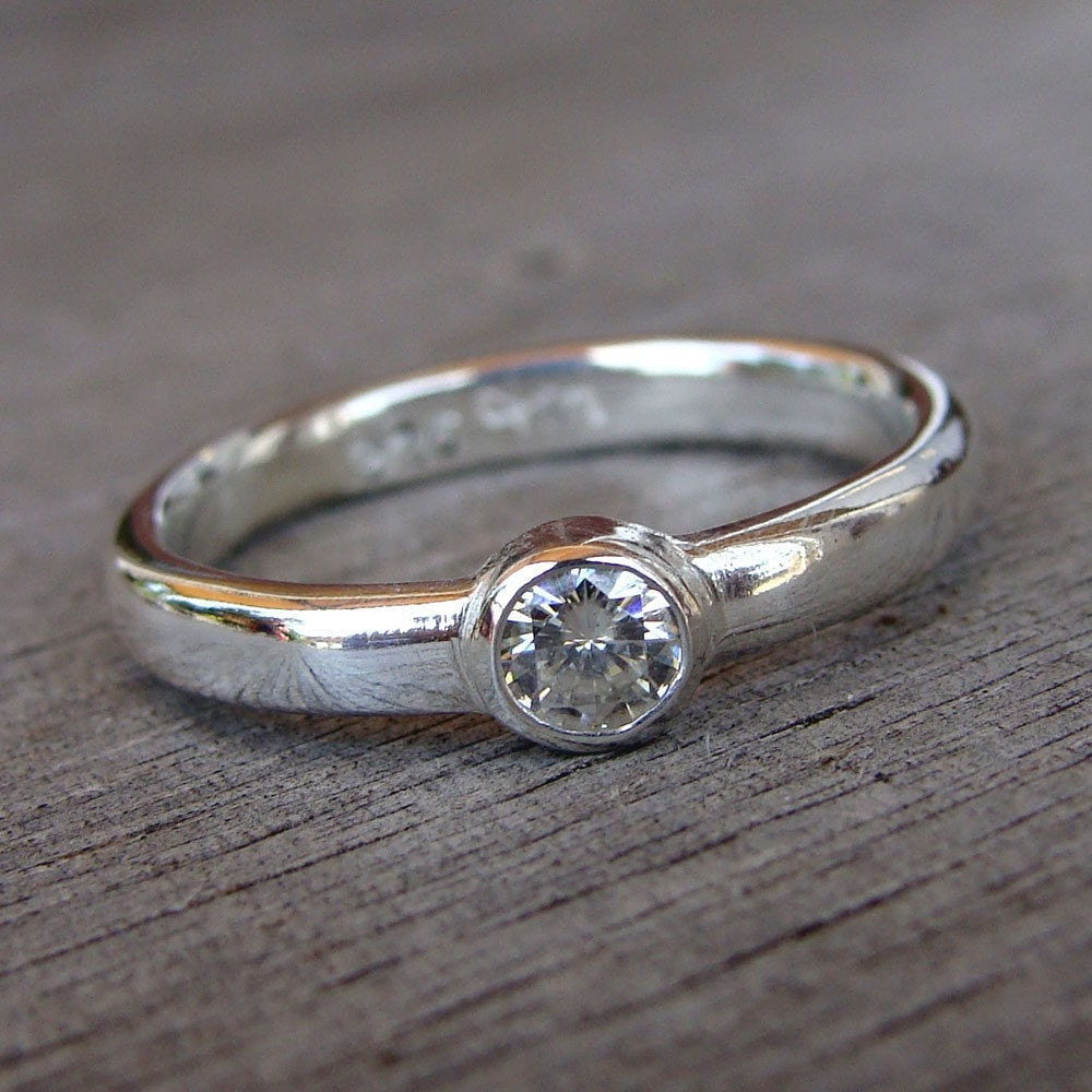 moissanite and recycled sterling silver solitaire ring made