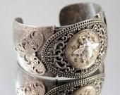 STEAMPUNK Bee Watch Face Cuff Bracelet Vintage Silver Victorian Steam Punk Free Shipping