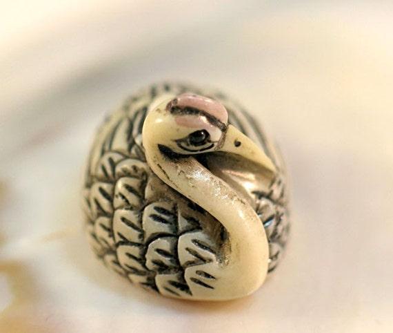 Carved Alabaster Crane Egret Bird Ojime Animal Focal Bead