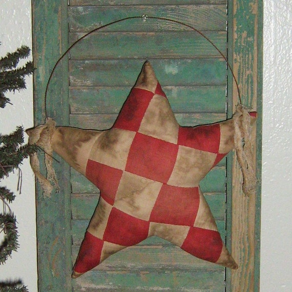 Primitive Star Door Hanger Red White Antique Quilt Top