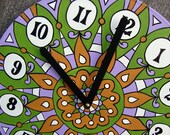 Grasshopper  Mandala Record Clock.  Psychedelic Bohemian Hand Painted Geometric Home Decor