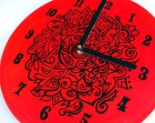 Vampire Red Goth Clock - Hand Painted Original Red and Black Home Decor made from Vinyl Record