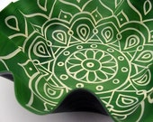 Muted Green Mandala Record Bowl - Hand Painted Geometric Design on Recycled Vinyl Record
