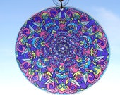 Southwestern Mandala Suncatcher - Bohemian Home Decor in Purple - Turquoise - Pink - Yellow - Psychedelic Geometric Art