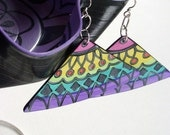Carnival Earrings - Geometric Design Hand Painted in Yellow, Teal, Pink and Purple. Made From Recycled Records