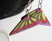 East Village Earrings - OOAK Hand Painted Boho Geometric Orange Earrings Made From Vinyl Records