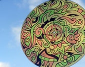 Yellow Amoeba Mandala Suncatcher - Tribal Inspired Geometric Design Made From Recycled CD Spacer