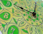 Geometric Yellow and Green Clock - Original Mandala on Recycled Vinyl Record
