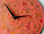 Tangerine Tango Wall Clock - Psychedelic Geometric Original Mandala on Recycled Vinyl Record
