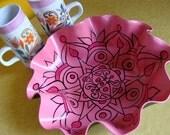 Salmon Rose Mandala Record Bowl - Psychedelic Geometric Bohemian Home Decor - Pink Recycled Vinyl Record Bowl