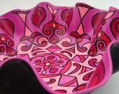 Pinkadelic Mandala Record Bowl - Psychedelic Pink - Geometric Design Hand Painted on Recycled Vinyl Record